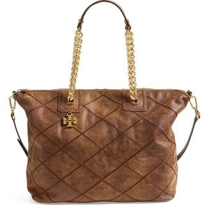 Tory Burch Brown Leather Diamond Stitch Tote Bag